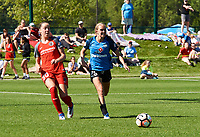 Kansas City, MO - Saturday May 13, 2017:  Celeste Boureille, Brittany Ratcliffe , during a regular season National Women's Soccer League (NWSL) match between FC Kansas City and the Portland Thorns FC at Children's Mercy Victory Field.