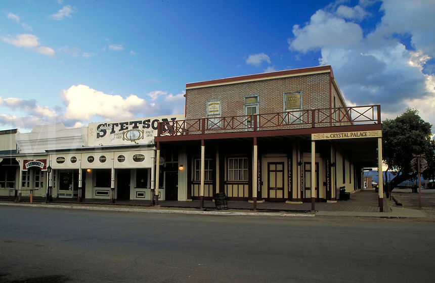 "Wild west - """"The Town Too Tough To Die."""" Historic buildings on Allen Street in Tombstone, Arizona. Allen Street was the site of the infamous 1881 OK Corral gunfight between the Earps, Doc Holliday, and the Clantons. street scene, architecture, hist toric"