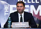 4th October 2017, Park Plaza, London, England; Tony Bellew versus David Haye, The Rematch, Press Conference; Eddie Hearn introducing both fighters during the press conference