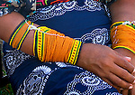 Panama, Panama City, Kuna Indian, Traditional Beaded Arm Bands, Mola Skirt, Textile Art