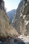 Steep sided gorge eroded through limestone, Saklikent Gorge, Mugla Province, Turkey