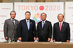 (L-R) Tsunekazu Takeda, Yoshiro Mori, Fujio Mitarai, Toshiro Muto, March 26, 2014 : a press conference of Tokyo Organizing Committee of the Olympic and Paralympic Games <br /> in Tokyo, Japan. (Photo by Yohei Osada/AFLO SPORT)