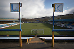 Greenock Morton 2 Stranraer 0, 21/02/2015. Cappielow Park, Greenock. Signs indicating the rows 'K' and 'L' on the traditional away end of the stadium, pictured before Greenock Morton take on Stranraer in a Scottish League One match at Cappielow Park, Greenock. The match was between the top two teams in Scotland's third tier, with Morton winning by two goals to nil. The attendance was 1,921, above average for Morton's games during the 2014-15 season so far. Photo by Colin McPherson.