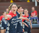 Bensheim, Germany, May 17: Zana Covic #4 of SG BBM Bietigheim gestures during the match between HSG Bensheim/Auerbach and SG BBM Bietigheim in the HBF 1. Bundesliga Damen Saison 2013/2014  on  May 17, 2014 at Weststadthalle Bensheim in Bensheim, Germany. Final score 21:26 (11:16) (Photo by Dirk Markgraf / www.265-images.com) *** Local caption *** *** Local  caption ***