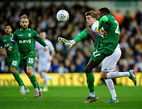 Leeds United's Patrick Bamford vies for possession with Sheffield Wednesday's Dominic Iorfa<br /> <br /> Photographer Chris Vaughan/CameraSport<br /> <br /> The EFL Sky Bet Championship - Leeds United v Sheffield Wednesday - Saturday 11th January 2020 - Elland Road - Leeds<br /> <br /> World Copyright © 2020 CameraSport. All rights reserved. 43 Linden Ave. Countesthorpe. Leicester. England. LE8 5PG - Tel: +44 (0) 116 277 4147 - admin@camerasport.com - www.camerasport.com