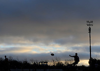 30th November 2013; Mark O'Neill kicks a penalty for Terenure. Ulster Bank League Division 1B, Corinthians v Terenure, Corinthian Park, Galway. Picture credit: Tommy Grealy/actionshots.ie.