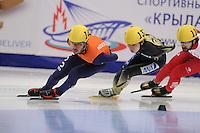 "SHORT TRACK: MOSCOW: Speed Skating Centre ""Krylatskoe"", 13-03-2015, ISU World Short Track Speed Skating Championships 2015, 1500m Men, Sjinkie KNEGT (#148 | NED), Hiroki YOKOYAMA (#137 | JPN), ©photo Martin de Jong"