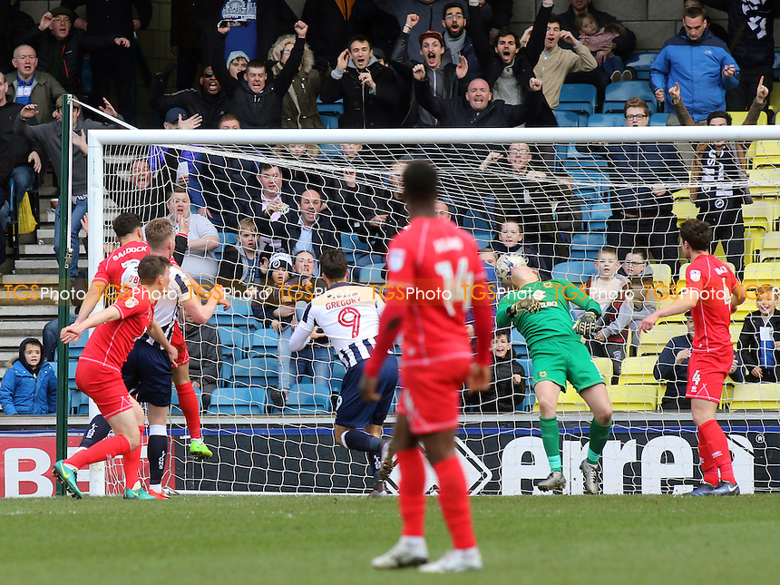 Lee Gregory scores Millwall's opening goal during Millwall vs MK Dons, Sky Bet EFL League 1 Football at The Den on 4th March 2017