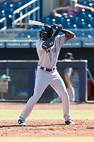 Glendale Desert Dogs left fielder Estevan Florial (13), of the New York Yankees organization, at bat during an Arizona Fall League game against the Peoria Javelinas at Peoria Sports Complex on October 22, 2018 in Peoria, Arizona. Glendale defeated Peoria 6-2. (Zachary Lucy/Four Seam Images)
