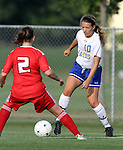 BROOKINGS, SD - AUGUST 16:  Megan Kingston #10 from South Dakota State University controls the ball against Stephanee Ophey #2 from Winnipeg in the first half of their game Friday evening at Fischback Soccer Field in Brookings. (Photo by Dave Eggen/Inertia)