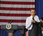 U.S. President Barack Obama speaks during the Shared Responsibility and Shared Prosperity Town Hall at the North Virginia Community College, Annandale Campus in Annandale, Virginia April 19, 2011. .Copyright EML/Rockinexposures.com.