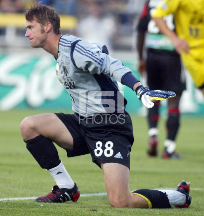 Columbus Crew's Jonny Walker makes a save against D.C. United during their game in Columbus, Ohio, Saturday, July 2, 2005.