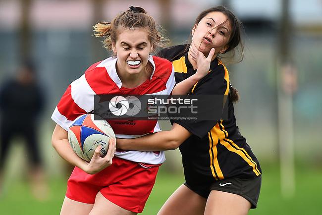 NELSON, NEW ZEALAND - Women`s Rugby - Motueka HS v Waimea Old Boys at Sport Park, Motueka, New Zealand. Saturday 5 May 2018. (Photo by Chris Symes/Shuttersport Limited)