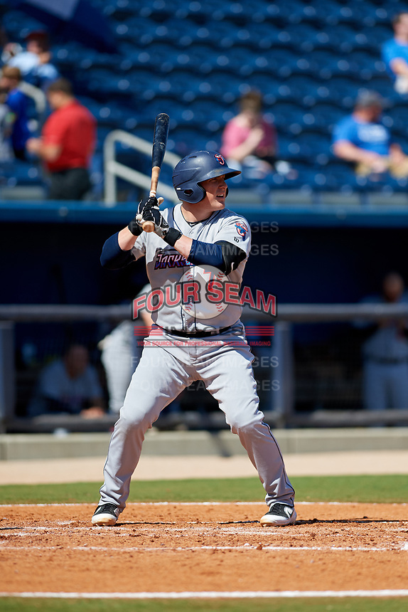 Jacksonville Jumbo Shrimp first baseman Skyler Ewing (7) at bat during a game against the Biloxi Shuckers on May 6, 2018 at MGM Park in Biloxi, Mississippi.  Biloxi defeated Jacksonville 6-5.  (Mike Janes/Four Seam Images)