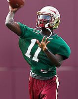 TALLAHASSEE, FLA.8/6/13-FSU080613CH-Florida State quarterback John Franklin III throws during practice Aug. 6, 2013 in Tallahassee, Fla.<br /> COLIN HACKLEY PHOTO
