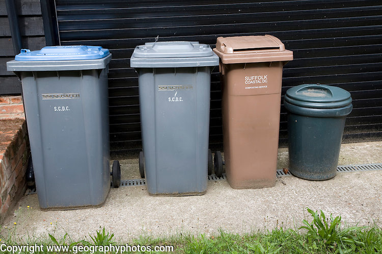 Recycling bins for sorted refuse