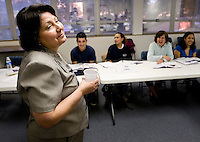 Volunteer ESL teacher Norma Warner (cq) during an ESL class to learn English as part of the the Nueva Vida Program at Spring Valley United Methodist Church in North Dallas, Texas, Tuesday, March 25, 2008. The class, which runs for 18 weeks, is entirely taught by volunteers...PHOTO/ MATT NAGER