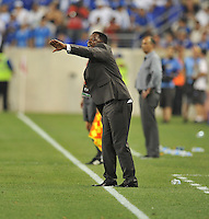 Augustin Castillo El Salvador Head Coach.  Trinidad & Tobago tied El Salvador 1-1 in the first round of the Concacaf Gold Cup, at Red Bull Arena, Monday July 8 , 2013.