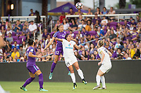 Orlando, FL - Saturday July 15, 2017: Alex Morgan, Sydney Leroux during a regular season National Women's Soccer League (NWSL) match between the Orlando Pride and FC Kansas City at Orlando City Stadium.