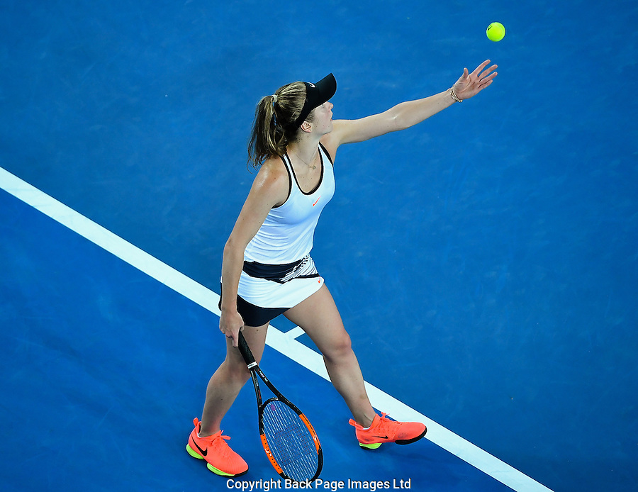 Elina Svitolina of Ukraine in action during Day five of the Australian Open Tennis Championships held in Melbourne Park, Australia on 20th January 2017