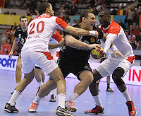 15.01.2013 Granollers, Spain. IHF men's world championship, prelimanary round. Picture show Mladen Rakcevix   in action during game between Tunisia vs Montenegro at Palau d'esports de Granollers