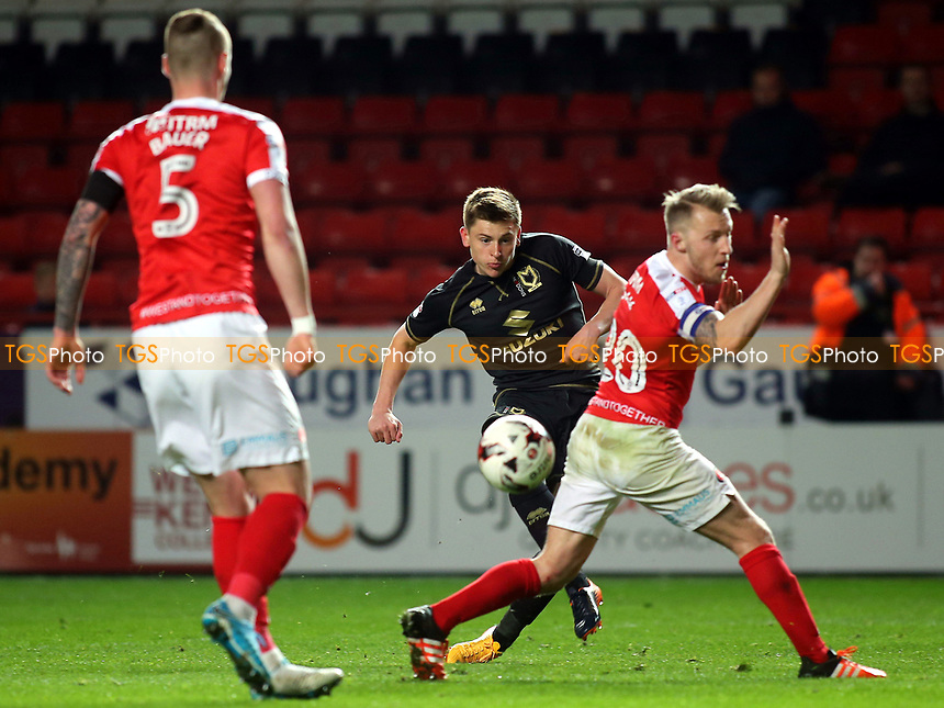 Harvey Barnes scores MK Dons second goal during Charlton Athletic vs MK Dons, Sky Bet EFL League 1 Football at The Valley on 4th April 2017