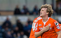 Cameron McGeehan of Luton Town celebrates his winning goal during the Sky Bet League 2 match between Wycombe Wanderers and Luton Town at Adams Park, High Wycombe, England on 6 February 2016. Photo by Andy Rowland.