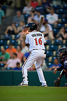 Richmond Flying Squirrels Brandon Van Horn (16) at bat during an Eastern League game against the Binghamton Rumble Ponies on May 29, 2019 at The Diamond in Richmond, Virginia.  Binghamton defeated Richmond 9-5 in ten innings.  (Mike Janes/Four Seam Images)