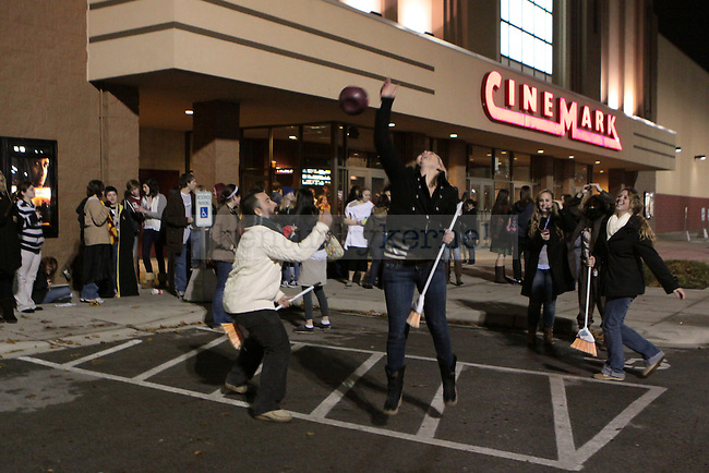 Harry Potter fans line up outside the Cinemark Fayette Mall movie theatre hours before the midnight premier of the latest Harry Potter film. Photo by Scott Hannigan | Staff