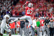 Indianapolis, IN - DEC 1, 2018: Ohio State Buckeyes wide receiver Terry McLaurin (83) moves the chains with a big catch during first half action of the Big Ten Championship game between Northwestern and Ohio State at Lucas Oil Stadium in Indianapolis, IN. (Photo by Phillip Peters/Media Images International)
