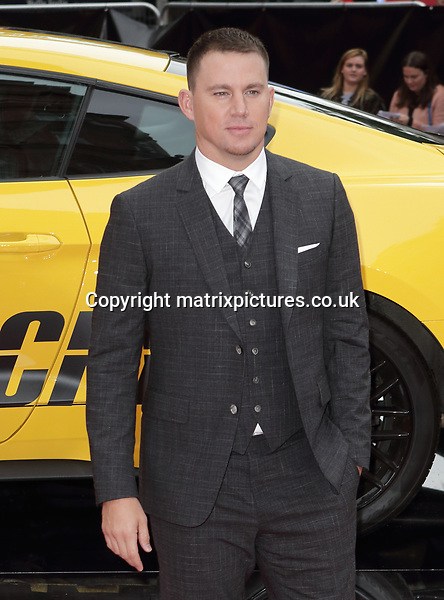 NON EXCLUSIVE PICTURE: MATRIXPICTURES.CO.UK<br /> PLEASE CREDIT ALL USES<br /> <br /> WORLD RIGHTS<br />  <br /> Channing Tatum attends the UK premiere of 'Logan Lucky' at Vue Cinema in Leicester Square, London.<br /> <br /> AUGUST 21st 2017<br /> <br /> REF: GBH 171878