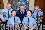 ALMOST A CLARE OUT: All of the gardai? bar Seamus Moriarty are from Clare in this group taken at the Coiste Siamsa presentations. Left to right, Garda Tom Burke, Garda Trish Fitzpatrick, Superintendent John Kerin, Garda Bri?d Troy and Garda Seamus Moriarty.   Copyright Kerry's Eye 2008