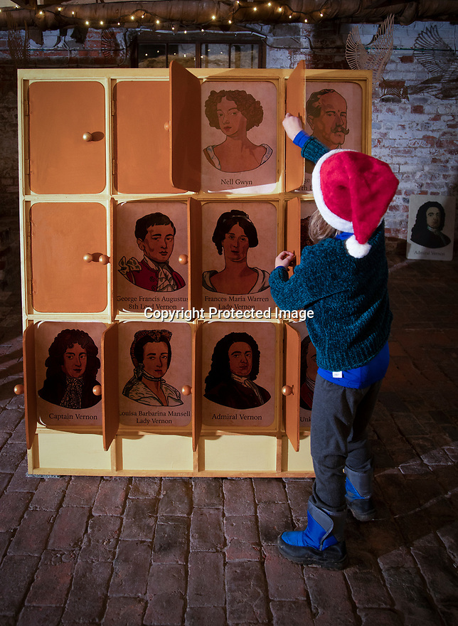 21/11/19<br /> <br /> Polly Bamforth (5) plays Guess Who in the Beer Cellar.<br /> <br /> <br /> Game On: A supersized snakes and ladder and other board games feature at the National Trust's Sudbury Hall, Derbyshire, where rooms have been converted into board games for Christmas. Visitors themselves are the playing pieces on the snakes and ladders board while other traditional board games featured include Scrabble, Guess Who and Cluedo.<br /> <br /> Full story:  https://rkp-press-releases.netlify.com/press-releases/2019-11-20-sudbury-hall-christmas-game-on-national-trust/<br /> <br /> <br /> All Rights Reserved: F Stop Press Ltd.  <br /> +44 (0)7765 242650 www.fstoppress.com