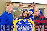 NEW JERSEYS: Michael McCarthy of Larkin's Bar, Milltown presents a set of new jerseys to the GAA teams at Presentation Secondary School, Milltown, front l-r: Paddy Sheahan, Sabrina Sheahan, Michael McCarthy. Back l-r: Cormac Bonner (Principal) and Ronan Murphy.