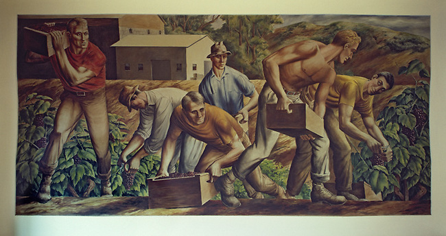 Mural in Saint Helena post office.  Painted during WPA period in 1930s.