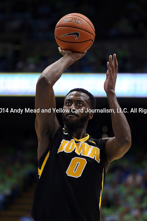 03 December 2014: Iowa's Gabriel Olaseni (ENG). The University of North Carolina Tar Heels played the University of Iowa Hawkeyes in an NCAA Division I Men's basketball game at the Dean E. Smith Center in Chapel Hill, North Carolina. Iowa won the game 60-55.