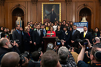 Speaker of the United States House of Representatives Nancy Pelosi (Democrat of California), joined by Democratic lawmakers, speaks during a press conference on the Deferred Action for Childhood Arrivals program on Capitol Hill in Washington D.C., U.S. on Tuesday, November 12, 2019.  The Supreme Court is currently hearing a case that will determine the legality and future of the DACA program.  <br /> <br /> Credit: Stefani /CNP /MediaPunch