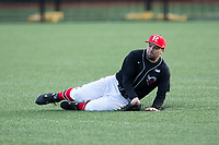 Rutgers Scarlet Knights right fielder Tom Marcinczyk (31) attempts to make a sliding catch of a line drive during the game against the Iona Gaels at City Park on March 8, 2017 in New Rochelle, New York.  The Scarlet Knights defeated the Gaels 12-3.  (Brian Westerholt/Four Seam Images)