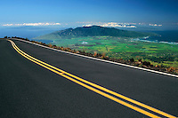 All of Maui County including the islands of Lanai'i and Molokai seen from Crater Road in HALEAKALA NATIONAL PARK on Maui in Hawaii