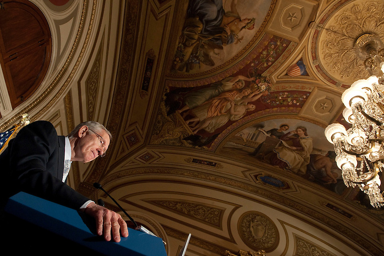 UNITED STATES - FEB. 16: Senate Majority Leader Harry Reid, D-Nev., listens to reporters questions during a news conference to unveil an economic agenda that balances investments with deficit reduction. The press conference was held in the Rayburn Room in the U.S. Capitol. (Photo By Douglas Graham/Roll Call)