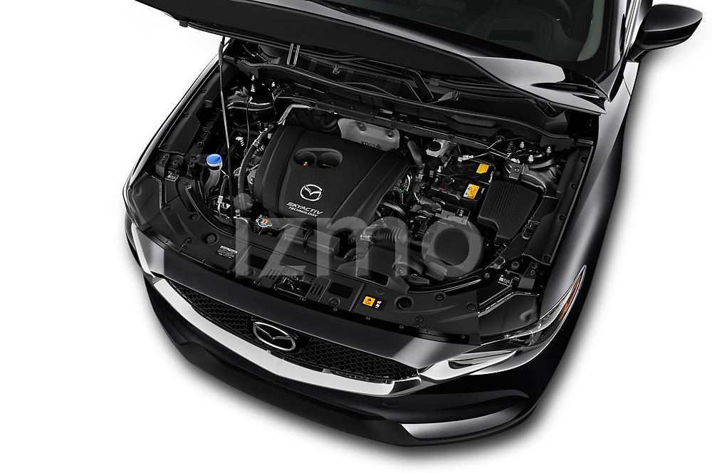 Car stock 2017 Mazda CX-5 Sport 5 Door SUV engine high angle detail view
