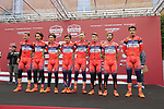 Nippo-Vini Fantini team at sign on before the start of the 2017 Strade Bianche running 175km from Siena to Siena, Tuscany, Italy 4th March 2017.<br /> Picture: Eoin Clarke | Newsfile<br /> <br /> <br /> All photos usage must carry mandatory copyright credit (&copy; Newsfile | Eoin Clarke)