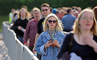 Pictured: Queues outside the stadium Saturday May 2016<br /> Re: Manic Street Preachers at the Liberty Stadium, Swansea, Wales, UK