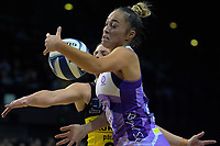 Mila Reuelu-Buchanan takes a pass during the ANZ Premiership netball match between the Central Pulse and Northern Stars at the TSB Bank Arena in Wellington, New Zealand on Monday, 13 May 2019. Photo: Dave Lintott / lintottphoto.co.nz