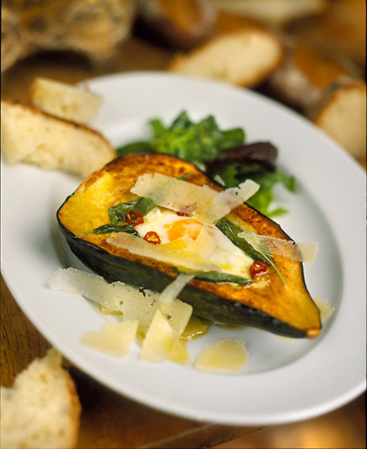 Slug: Ruta's Food.Date: .Photographer: Mark Finkenstaedt .Location:  Washington Design Center.Caption:  Chef Ruta.s Squash with fried egg..© 2008 Mark Finkenstaedt. All Rights Reserved. No additional Editorial Magazine, Electronic or TV/ multimedia use beyond Designing Solutions..Contact the photographer for authorization and additional licensing..mark@mfpix.com.202-258-2613,