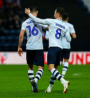 Preston North End's Andrew Hughes celebrates scoring his side's first goal with Alan Browne<br /> <br /> Photographer Alex Dodd/CameraSport<br /> <br /> The Emirates FA Cup Third Round - Preston North End v Doncaster Rovers - Sunday 6th January 2019 - Deepdale Stadium - Preston<br />  <br /> World Copyright &copy; 2019 CameraSport. All rights reserved. 43 Linden Ave. Countesthorpe. Leicester. England. LE8 5PG - Tel: +44 (0) 116 277 4147 - admin@camerasport.com - www.camerasport.com
