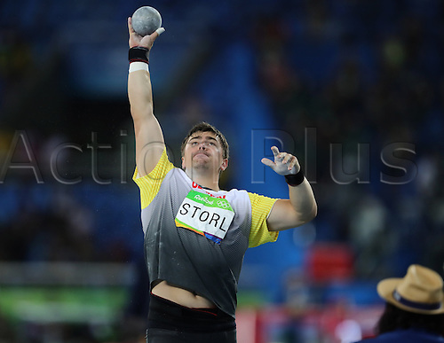 18.08.2016. Rio de Janeiro, Brazil. David Storl of Germany competes in Men's Shot Put Final of the Olympic Games 2016 Athletic, Track and Field events at Olympic Stadium during the Rio 2016 Olympic Games in Rio de Janeiro, Brazil, 18 August 2016.
