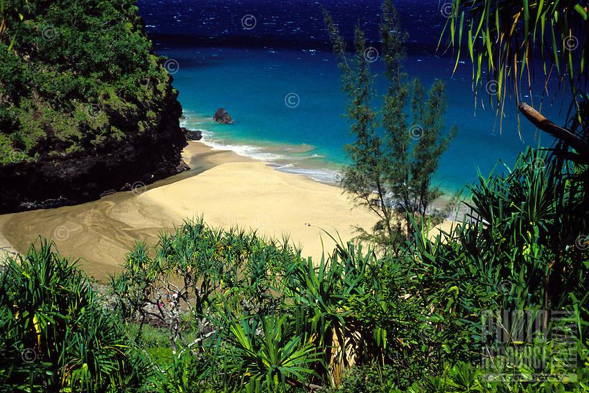 Scenic view of Hanakapiai beach off the Kalalau trail on Kauai Na Pali coast