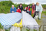 Residents who are disgusted with the illegal dumping on the Currow to Kilcummin road in the Rossanean/Coolick area which has recently escalated l-r: Mike Moloney, Aidan Neville, Triona Heffernan, Roisin, Michelle and Tom Chambers, Senator Marie Moloney Susan Neville and Lady the dog ..