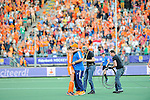 The Hague, Netherlands, June 12: Head coach Max Caldas of The Netherlands and Kim Lammers #23 of The Netherlands celebrate after winning the field hockey semi-final match (Women) between The Netherlands and Argentina on June 12, 2014 during the World Cup 2014 at Kyocera Stadium in The Hague, Netherlands. Final score 4-0 (3-0)  (Photo by Dirk Markgraf / www.265-images.com) *** Local caption ***